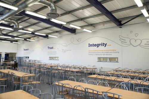 school dinner hall wall graphics
