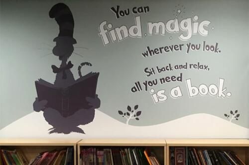 cat in a hat school wall decal